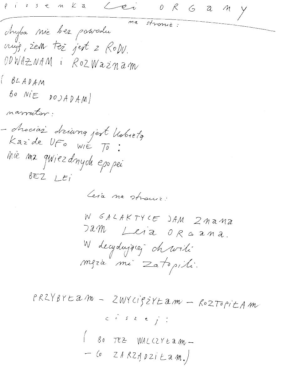Piosenka Lei Organy