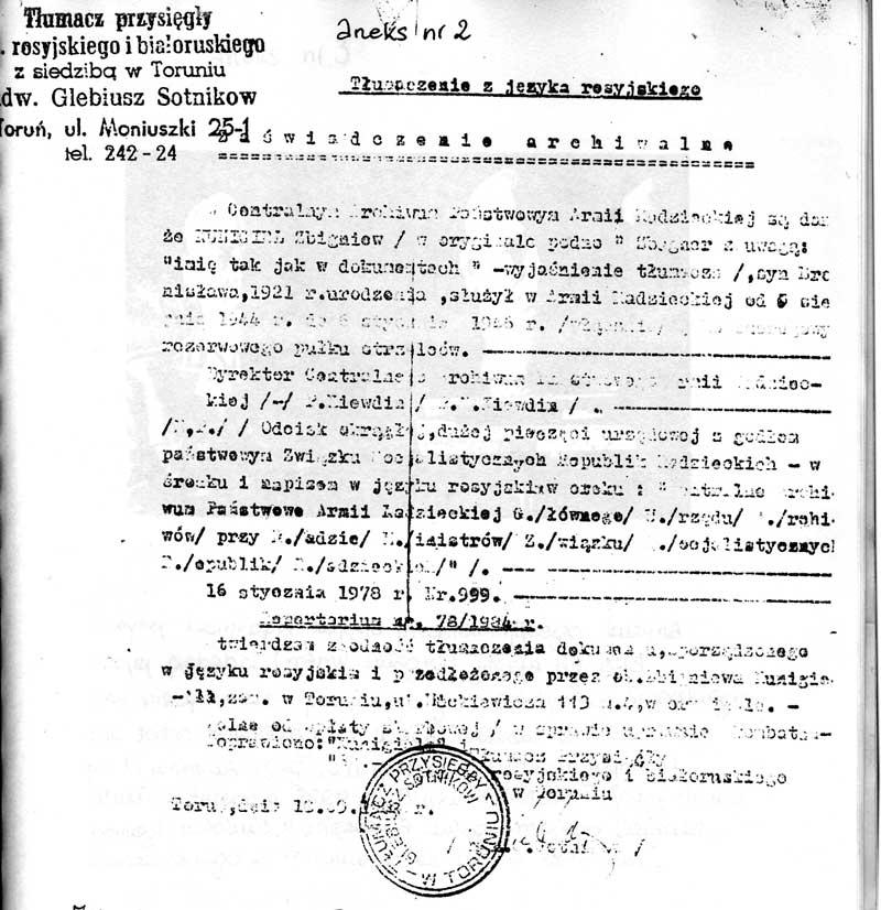 Tłumaczenie 'zaświadczenia archiwalnego z Amii Radzieckiej', 1978