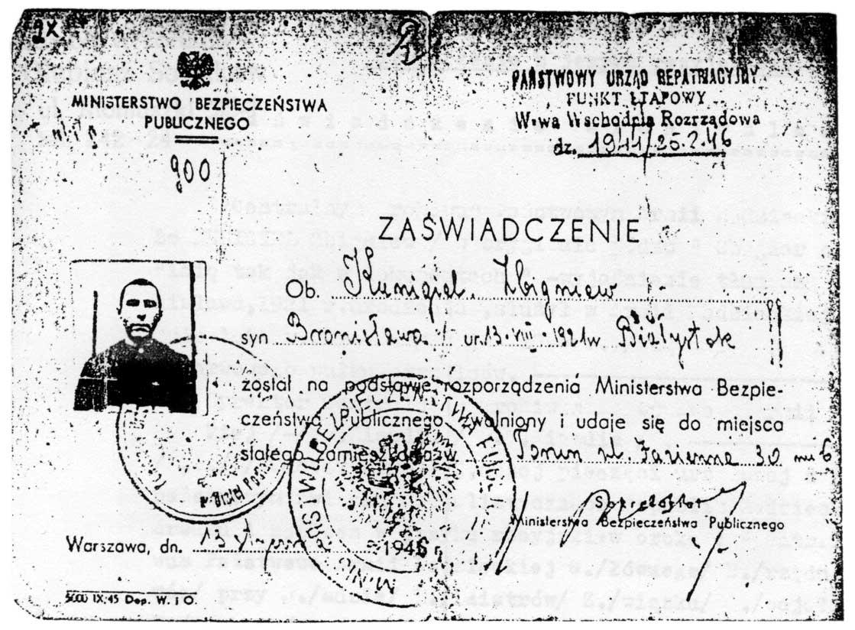 Zaświadczenie o zwolnieniu/repatriacji, 16/01/1946